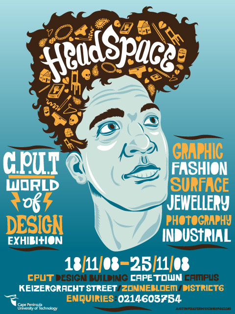 Flyer for CPUT student exhibition called HeadSpace